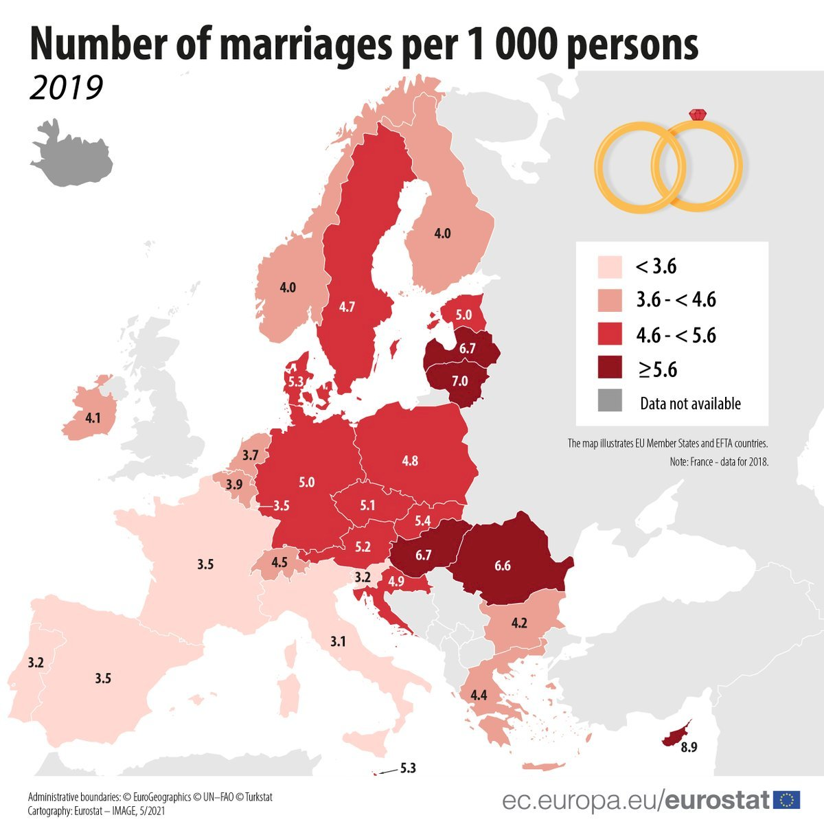 👰🏻💒💑 Highest number of #marriages: 🇨🇾 Cyprus (8.9 per 1 000 inhabitants) 🇱🇹 Lithuania (7) 🇱🇻 Latvia, 🇭🇺 Hungary (both 6.7) 🇷🇴 Romania (6.6) Lowest: 🇮🇹 Italy (3.1) 🇵🇹 Portugal, 🇸🇮 Slovenia (both 3.2) 🇫🇷 France, 🇪🇸 Spain, 🇱🇺 Luxembourg (all 3.5) 👉🏾 https://t.co/Eg0QHh9KB5 https://t.co/vditAm6tzY