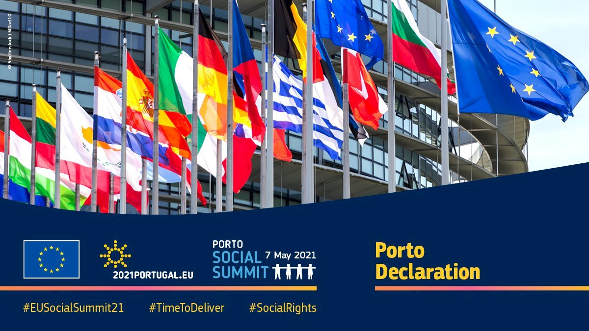 📍 Leaders of EU countries adopted the new Porto Declaration at #EUSocialSummit21! They are determined to continue deepening the implementation of the Pillar of #SocialRights and welcome the headline targets on jobs, skills & poverty reduction. 👉 https://t.co/2J9yXselma #EUCO https://t.co/SouzOOx5Zx